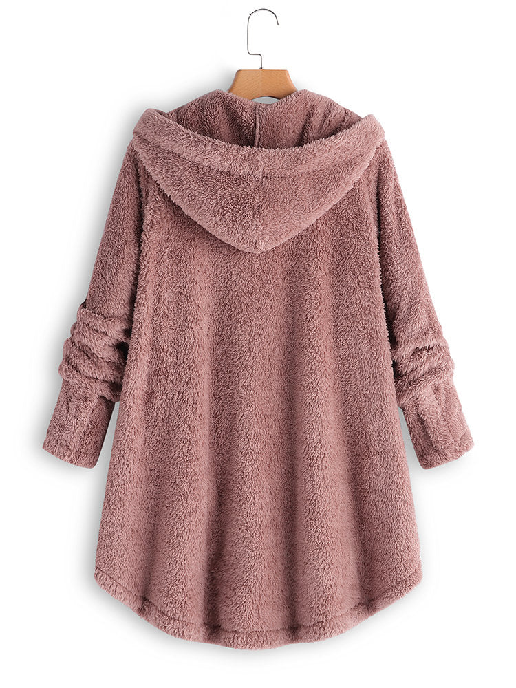 Long Sleeve Cozy  Fleece Hooded Asymmetrical Button Teddy Bear Coat - chiclila.com