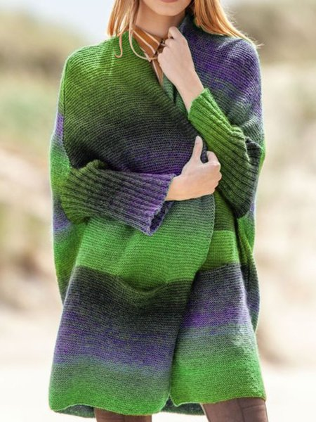 Color-Block Long Sleeve Knitted Casual Outerwear