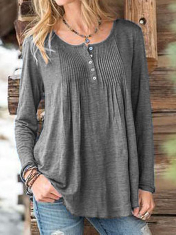 Cotton Round Neck Casual Gathered Shirts & Tops - chiclila.com