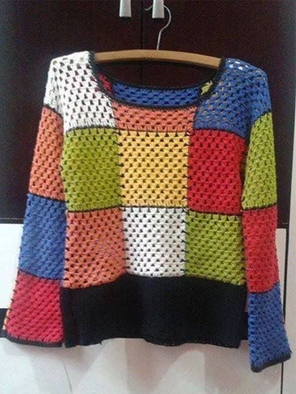 Multicolor Casual Knitted Crew Neck Long Sleeve Sweater