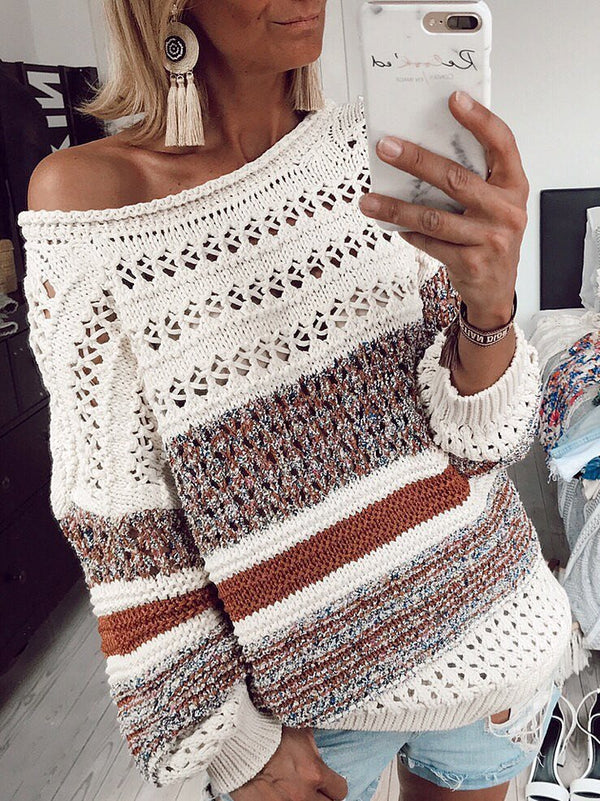 Casual Round Neck Cotton-Blend Sweaters