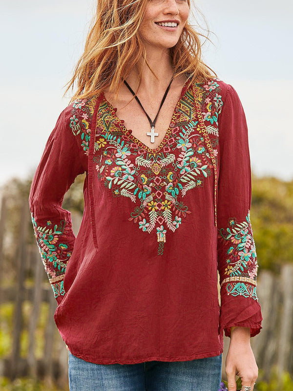Floral-Embroidered Casual Shirts & Tops - chiclila.com