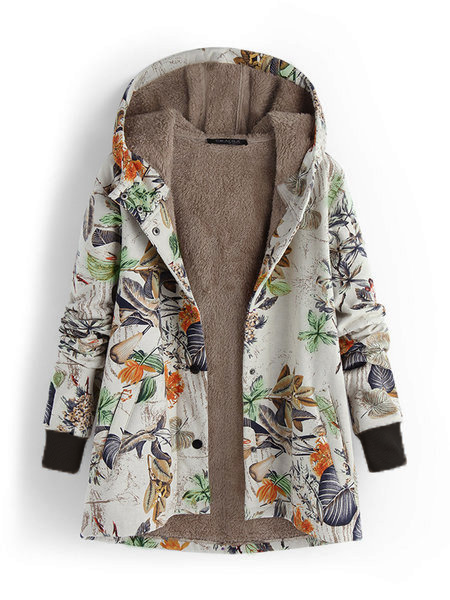 Patchwork Leaves Print Hooded Long Sleeve Vintage Teddy Bear Coat