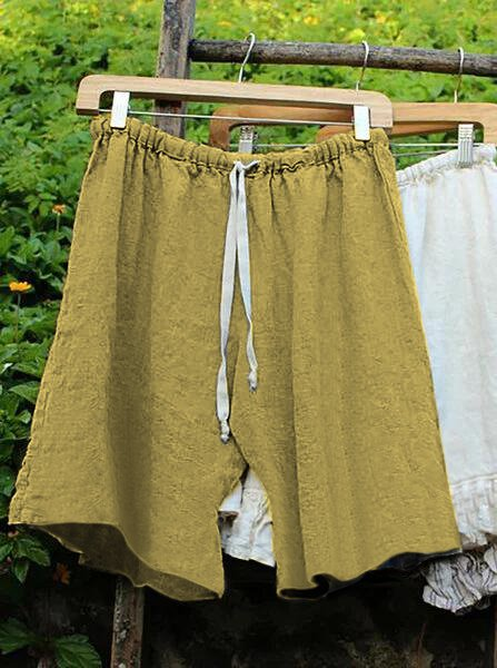 Women Lace Up Elastic Waistband Shorts Linen Bloomers - chiclila.com