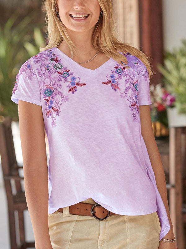 Casual V Neck Comfortable Embroidery Floral Shirts - chiclila.com