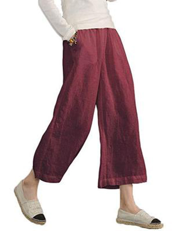 Plus Size Women Linen Casual Bottoms Solid Pockets Summer Pants - chiclila.com