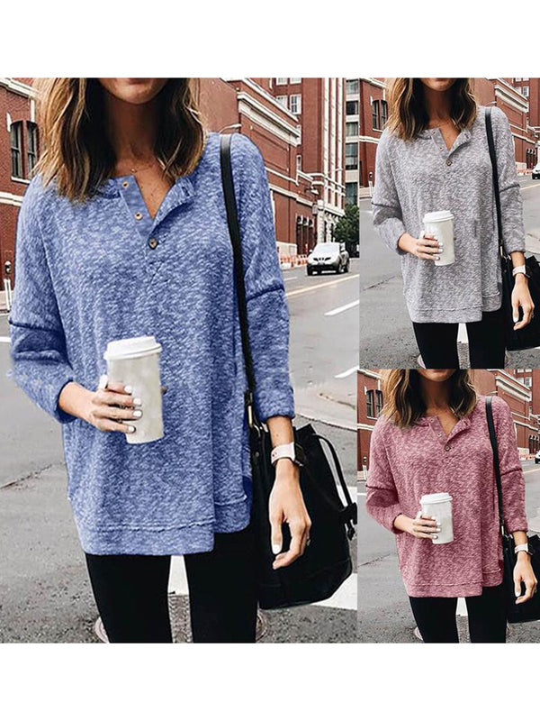 Basic Solid Round Collar Long Sleeve T-Shirt