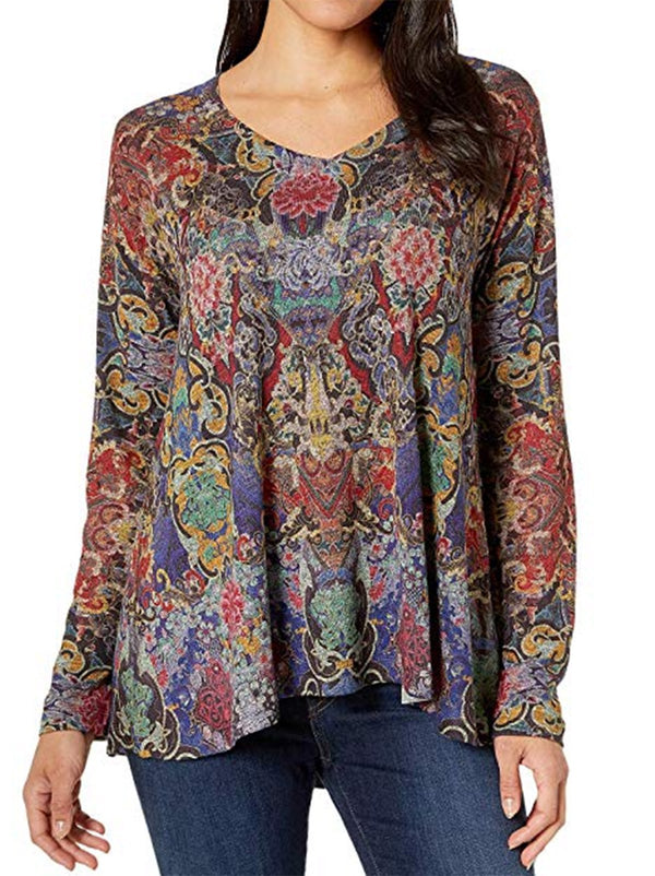 Women Multicolor Boho Floral Tops