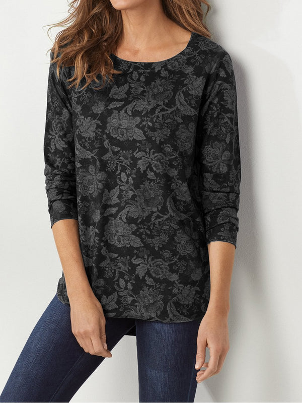 Casual Floral Round Neck Long Sleeve Shirts & Tops