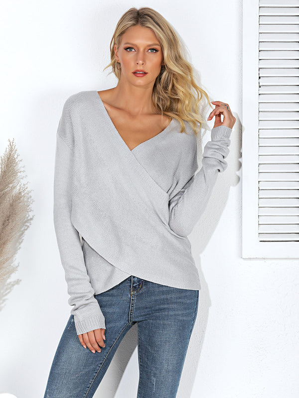 Surplice Neck Long Sleeve Casual Sweater