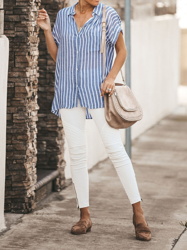 Striped Relaxed Fit Button Down Top - chiclila.com