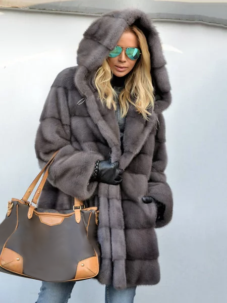 Royal Mink Furs Coat Vintage Pockets Hoodie Faux Fur Coats
