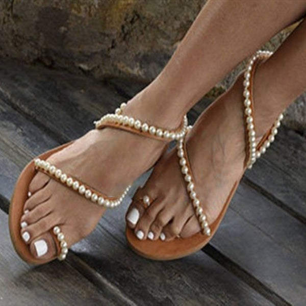 Summer New Boho Pearl Flat Sandals Large Size Fashion Sandals