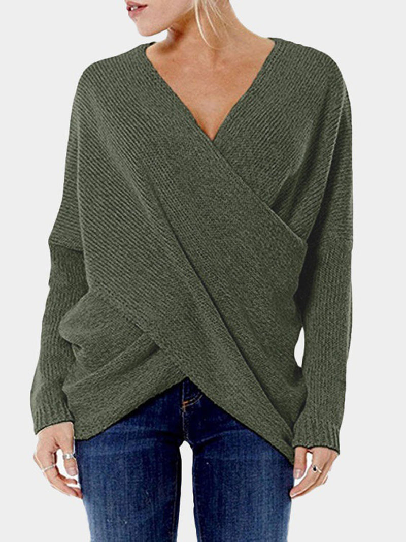 Casual Cross Front V-neck Irregular Hem Pullover Jumper Sweater