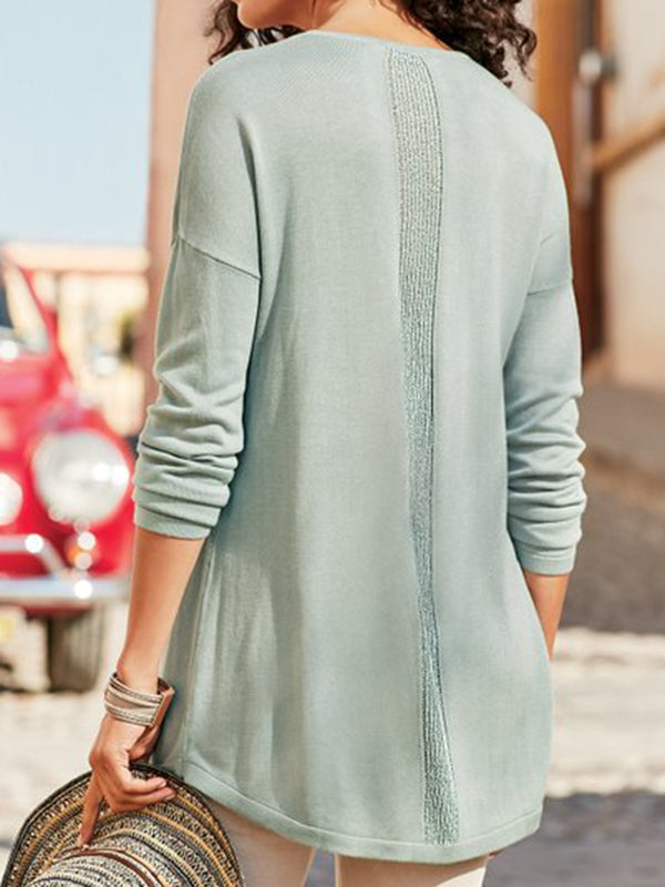Blue Gray Solid Casual V-Neck Cotton Tops - chiclila.com