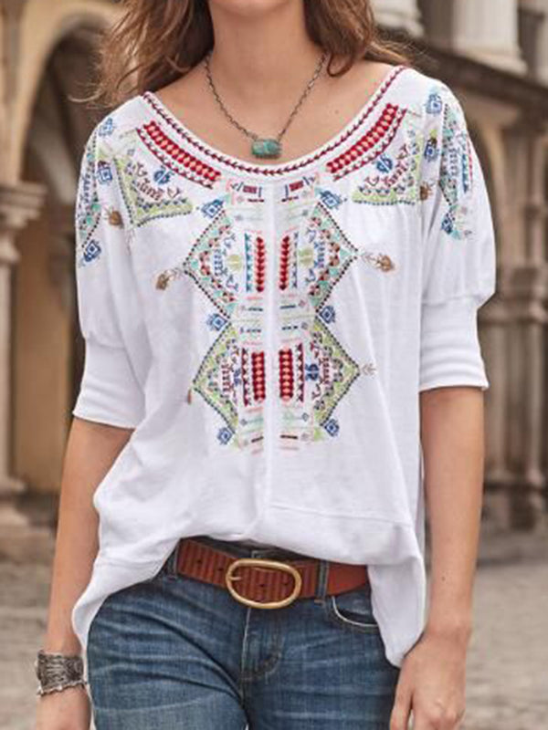 Women Tops Half Sleeves Round Neck Casual Tribal Blouses - chiclila.com