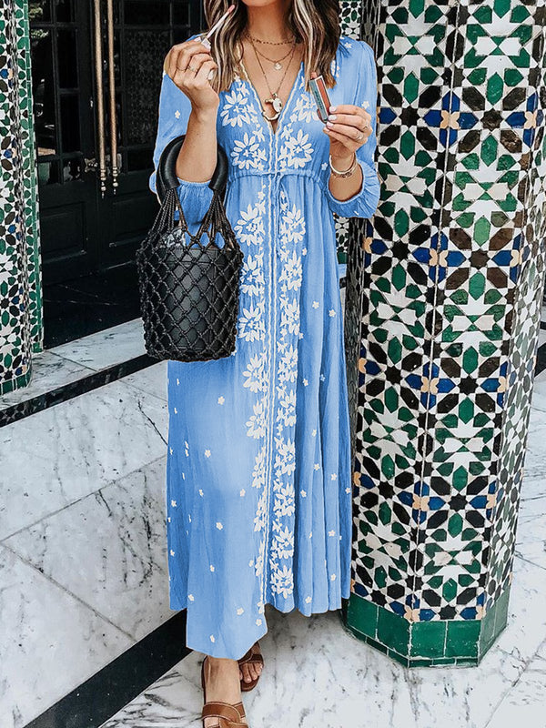 Plus Size Tribal Caftan 3/4 Sleeves Maxi Dresses