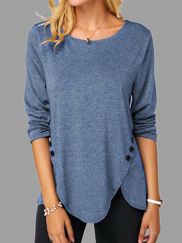 Crew Neck Casual Shift Knitted Shirts & Tops - chiclila.com