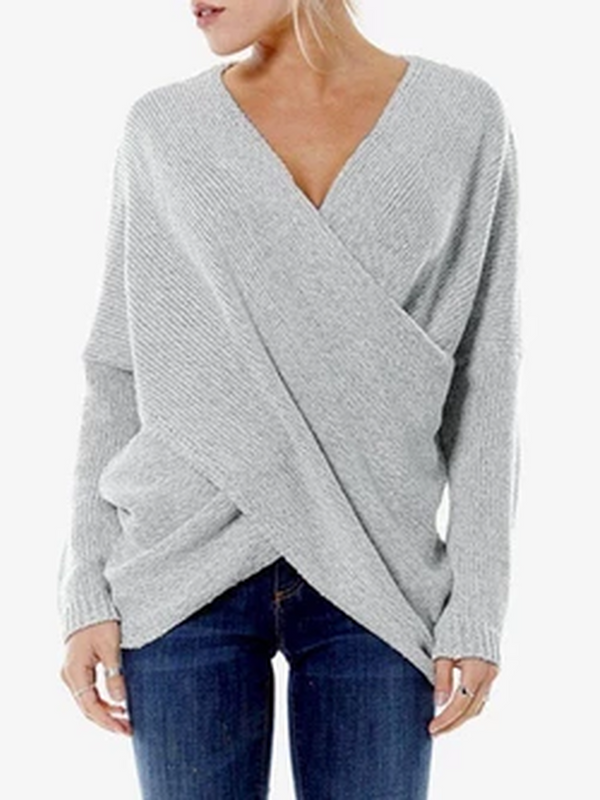 Asymmetric V Neck Sexy Long Sleeve Knitwear Sweater - chiclila.com