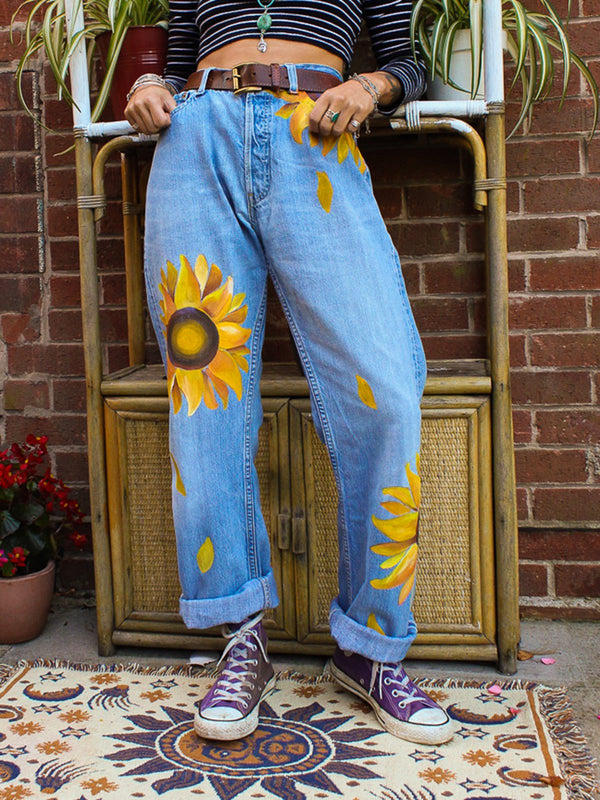 Plus Size Sunflower Print Women Denim Pants Jeans - chiclila.com