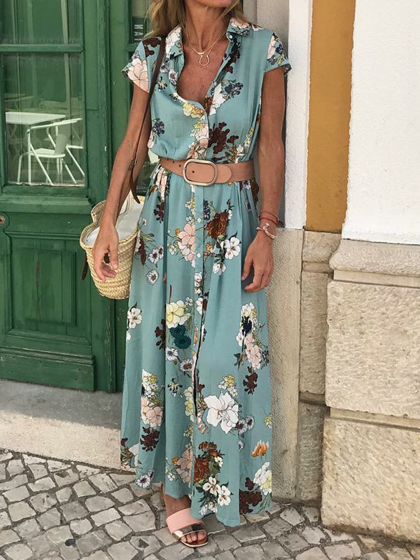 Floral Shirt Collar Short Sleeve Maxi Dresses - chiclila.com