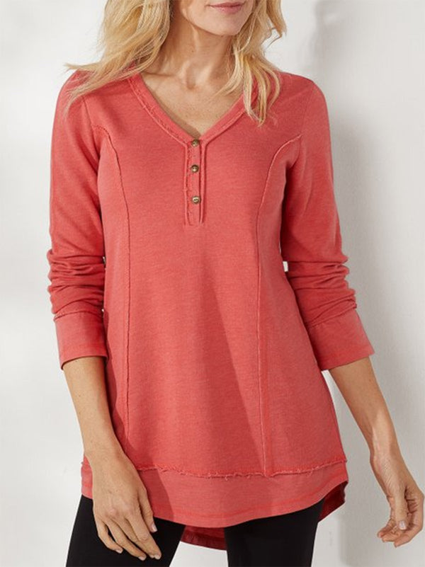 Solid Long Sleeve Cotton Tops