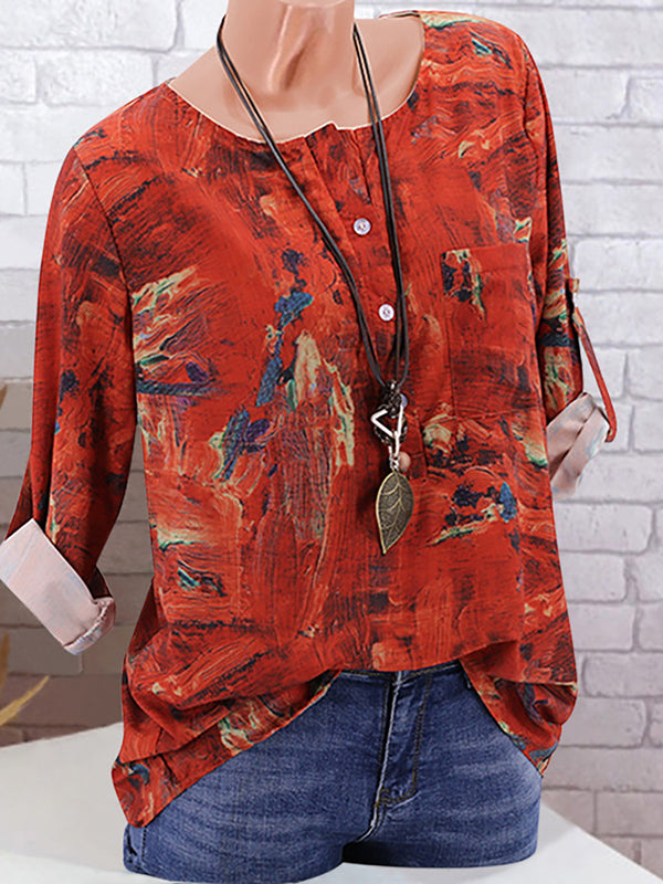 Women Causal Long Sleeve Printed Crew Neck Top Vintage Plus size T-Shirt