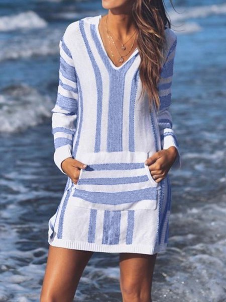 Casual Knitted Striped V-neck Long Sleeves Pocket Hoodies Mini Dress