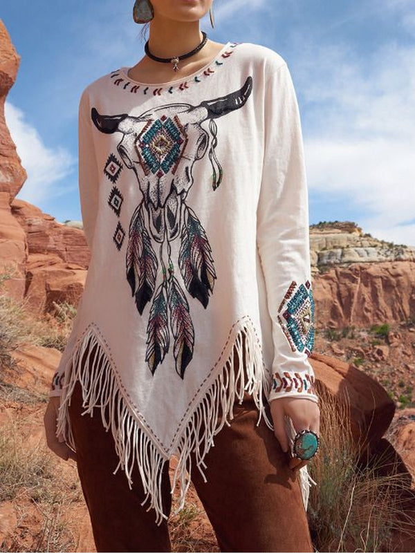 Bohemian Round Neck Embroidered Tassel Hem Long Sleeves T-shirt