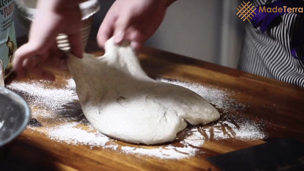 stretch and fold high hyration dough for sourdough bread