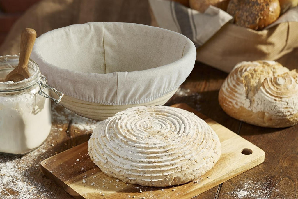high hydration sourdough bread banneton proofing basket with dough