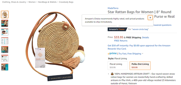 Made Terra Rattan Bags Awarded Amazon Choice Badge