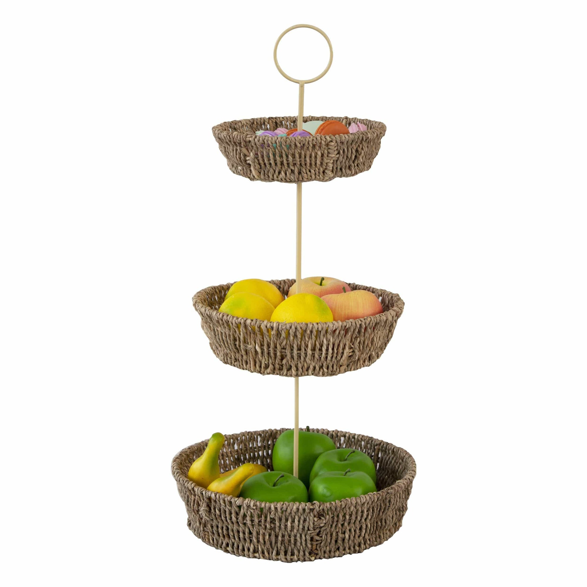 Made Terra 3 Tier Fruit Basket and Produce Hanging Holder | Rustic Farmhouse Decorative Fruit Basket for Storing and Organizing Food