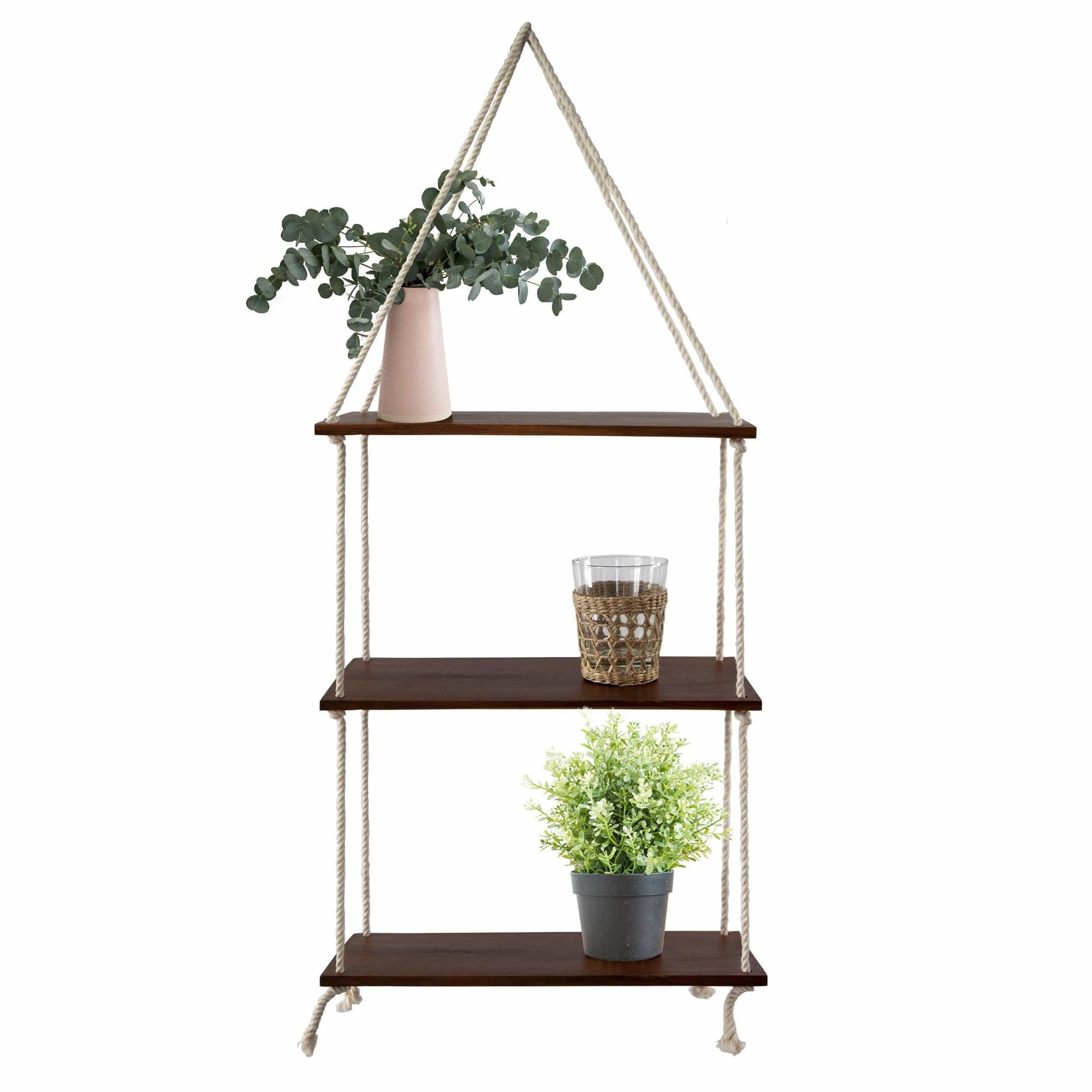 Made Terra 3 Tier Wall Hanging Swing Rope Floating Shelf Rustic Wooden Wall Hanging Storage Shelves for Living Room, Bedroom, Bathroom and Kitchen