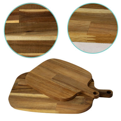 Made Terra Acacia Wood Pizza Peel, Serving Pan, Cheese and Charcuterie Boards with Handle for Baking, Cutting Pizza, Bread
