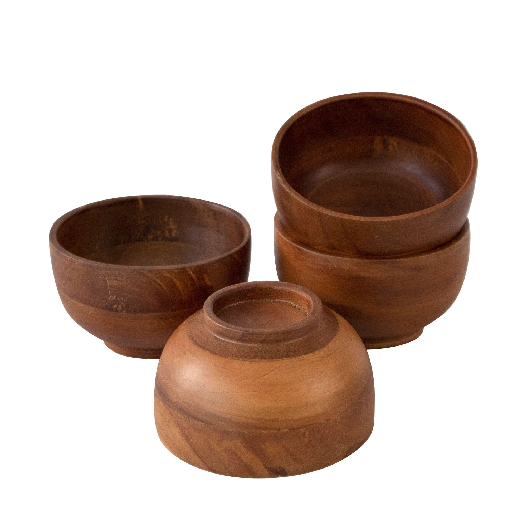 Made Terra Acacia Wood Rice Miso Soup Bowls | Organic Wooden Bowl Serving Soup Food Salads Trifle Dip Coffee Dining Party and Farmhouse Rustic Tabletop Decor (Set 4)