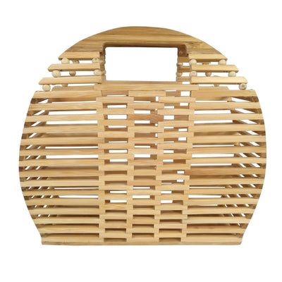 Made Terra Bamboo Bag Bamboo Handbags & Purses | Wooden Summer Beach Tote & Clutch Bags for Women (Semi Circle)