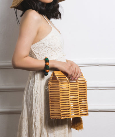Made Terra Bamboo Bag Bamboo Square Handbags | Summer Essential Vintage Bamboo Bags for Women