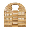Made Terra Bamboo Bag Bamboo Square Handbags | Wooden Summer Beach Tote & Clutch Bags for Women (Natural)