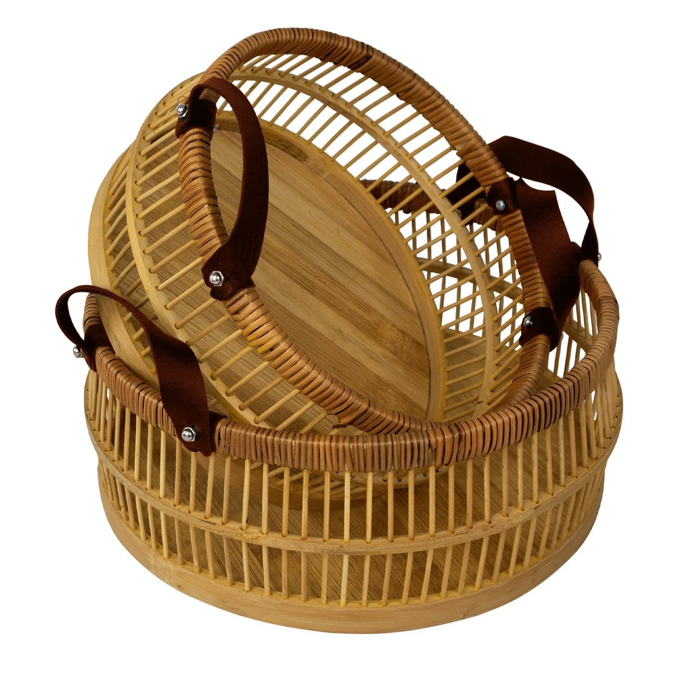 Made Terra Bamboo Basket Bamboo Storage Basket Bin with Leather Handles | HandWoven Decorative Basket Organizer, Hamper