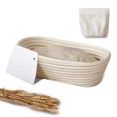 Made Terra Banneton Set of 1 10-inch Oval Banneton Bread Proofing Baskets | With Scraper and Liner