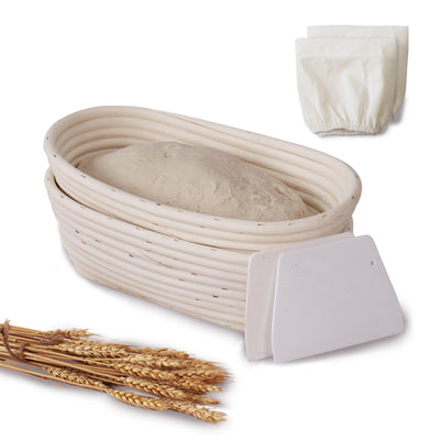 Made Terra Banneton Set of 2 10-inch Oval Banneton Bread Proofing Baskets | With Scraper and Liner