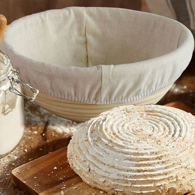 Made Terra Banneton 10-inch Round Banneton Bread Proofing Baskets | With Scraper and Liner