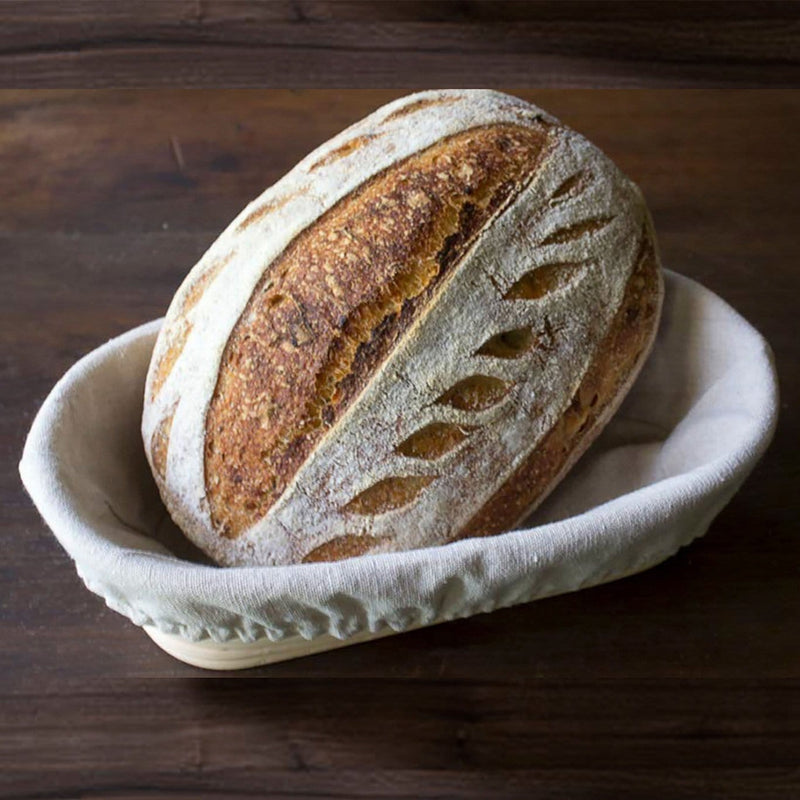 Made Terra Banneton Set of 1 11-inch Oval Banneton Bread Proofing Baskets | With Dough Scraper and Liner