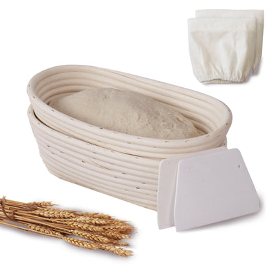 Made Terra Banneton Set of 2 11-inch Oval Banneton Bread Proofing Baskets | With Dough Scraper and Liner