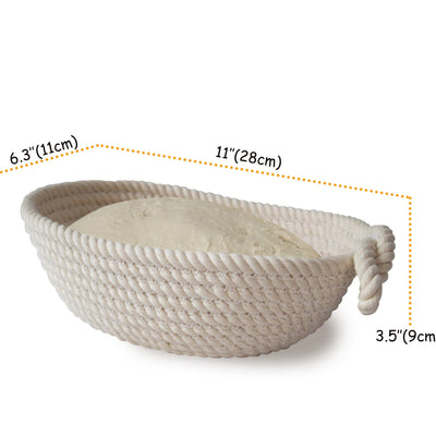 Made Terra Banneton 11-inch Oval Cotton Banneton Bread Proofing Basket | Sourdough Bread Dough Rising Baskets