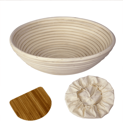 Made Terra Banneton Set of 1 11-Inch Round Banneton Bread Proofing Baskets | With Dough Scraper and Liner