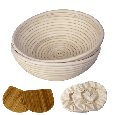 Made Terra Banneton Set of 2 11-Inch Round Banneton Bread Proofing Baskets | With Dough Scraper and Liner