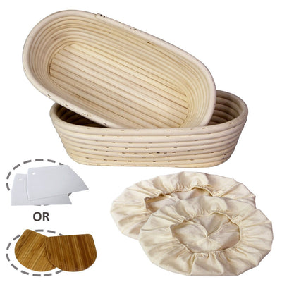Made Terra Banneton Set of 2 12-inch Oval Banneton Bread Proofing Baskets | With Dough Scraper and Liner