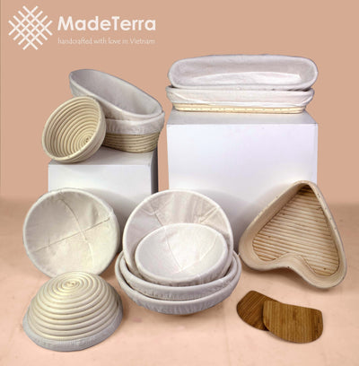 Made Terra Banneton 14-inch Oval Banneton Bread Proofing Baskets | With Dough Scraper & Liner